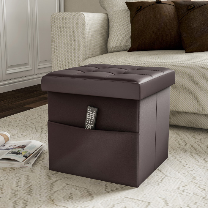 Strange Foldable Storage Cube Ottoman With Pocket Tufted Faux Leather Cjindustries Chair Design For Home Cjindustriesco