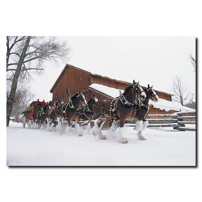Trademark Clydesdales - Snowing in front of Barn - 22x32 Canvas at Sears.com