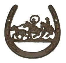 Cast Iron Horse Shoe W Horse Ropers 0184-1014
