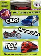 All About Cars-Motorcycles-Trains DVD w Collectible Toy 0198-552