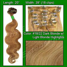 "#18/22 Dark Blonde with Light Highlights - 20"" Body Wave PRO-501"