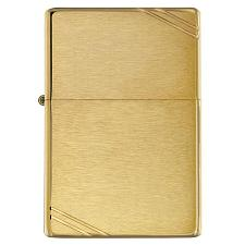 Zippo Windproof Lighter Vintage Brushed Brass W/Slashes