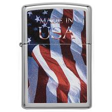 Zippo Windproof Lighter Made In Usa Flag High Polish Chrome Fini