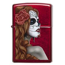 Zippo Windproof Lighter Day Of Dead Girl Candy Apple Red Translu