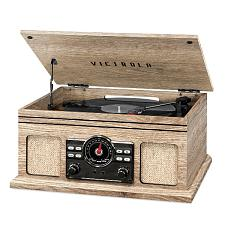 Innovative Technology VTA-250B-FOT Victrola 4In1 Bt Turntable, Fm, Oatmeal