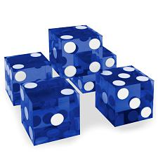 (5) New Blue 19mm Grd A Precision Dice w/Matching Serial #s DIC-