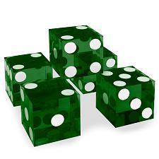 (5) New Green 19mm Grd A Precision Dice w/Matching Serial #s DIC