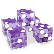 (5) New Violet 19mm Precision Dice w/Matching Serial #s DIC-0004