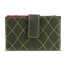 Travelon SafeID Embroidered Tri-Fold RFID Wallet - Olive/Berry