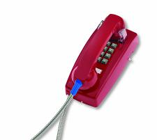 Cortelco 2554-ARC-RD 255447Arc20M Wall Phone W/Armored Cord