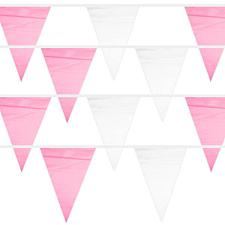Pink & White 100 Foot Pennant Stringer with 48 Flags MPAR-103