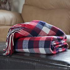 Lavish Home Cashmere-Like Blanket Throw - Red/Blue/White