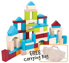 100 Piece Wooden Block Set with Carrying Bag TCDG-002