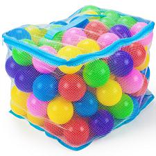 "100 Jumbo 3"" Multi-Colored Soft Ball Pit Balls w/Mesh Case TBPT-"