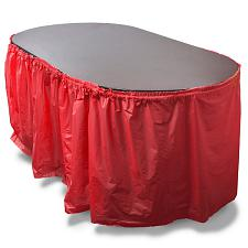 14-foot Red Reusable Plastic Table Skirt, Extends up to 20ft MPA