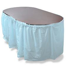 14' Light Blue Reusable Plastic Table Skirt, Extends 20'+ MPAR-4