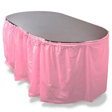 14' Pink Reusable Plastic Table Skirt, Extends 20'+ MPAR-454