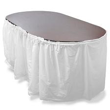 14' White Reusable Plastic Table Skirt, Extends 20'+ MPAR-455