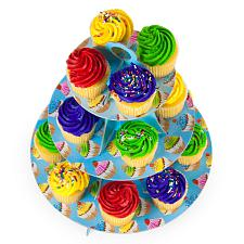 Blue 3 Tier Cupcake Stand, 14in Tall by 12in Wide MPAR-504
