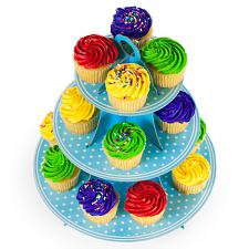 Blue Polka Dot 3 Tier Cupcake Stand, 14in Tall by 12in Wide MPAR