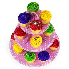 Pink Polka Dot 3 Tier Cupcake Stand, 14in Tall by 12in  MPAR-501