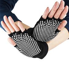 Black Fingerless Yoga Gloves with Slip-Free Beads SYOG-301