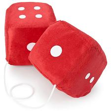 Pair of Red 3in Hanging Fuzzy Dice MDIC-001