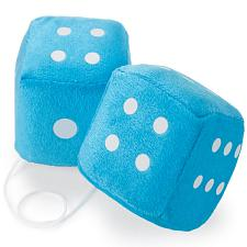 Pair of Blue 3in Hanging Fuzzy Dice MDIC-004