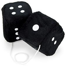 Pair of Black 3in Hanging Fuzzy Dice MDIC-005