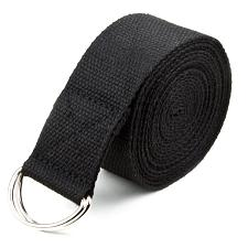 Black 10' Extra-Long Cotton Yoga Strap with Metal D-Ring SYOG-45