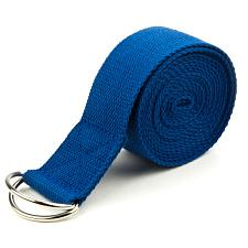 Blue 10' Extra-Long Cotton Yoga Strap with Metal D-Ring SYOG-453