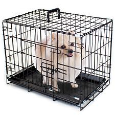 "18"" EXTRA SMALL Folding Metal Pet Crate with Removable Liner ACA"