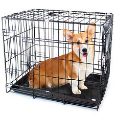 "30"" MEDIUM Dual-Door Folding Pet Crate with Removable Liner ACAG"