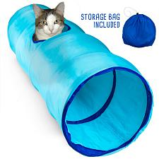 "36"" Blue Krinkle Cat Tunnel with Peek Hole and Storage Bag ACTN-"