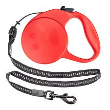 10-foot Red Extra-Small Retractable Dog Leash ALSH-003
