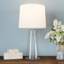 Clear Glass Lamp-Open Base Table Light with LED Bulb and Shade-M