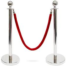 3-Foot Stanchion with 4.5 ft Red Velvet Rope, S MSTN-202