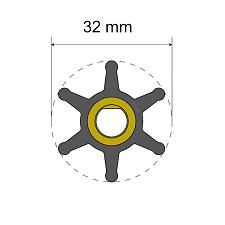Albin Pump Premium Impeller Kit - 32 x 8 x 12mm - 6 Blade