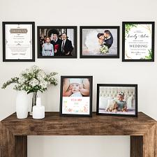 11x14 Picture Frame Set-6 Pack-Gallery Photo Display - Black Woo