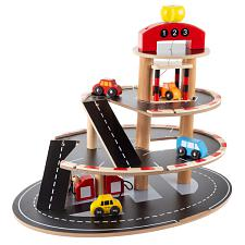 Parking Garage Toy-3 Level Wooden Service Station Playset-Workin