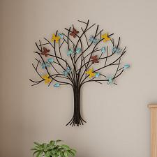 Tree of Life Butterfly Metal Wall Art- Hand Painted Decorative 3