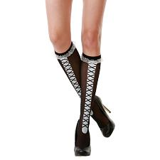 Black Laced Knee High Costume Tights MCOS-319