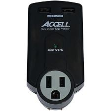 Accell D080B-011K Home Or Away Power Station 3-Outlet Travel Sur