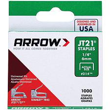"Arrow 21424 Thin Wire Staples, 1,000 Pk (1/4"")"