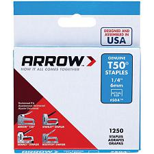 "Arrow Fastener 50424 T50(R) Staples, 1,250 Pk (1/4"")"