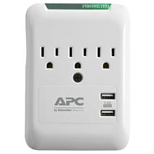 Apc Pe3Wu3 Essential Surgearrest 3-Outlet Wall Tap With 2 Usb Ch