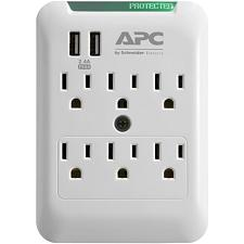 Apc Pe6Wu2 Essential Surgearrest 6-Outlet Wall Tap With 2 Usb Ch