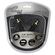 Audiopipe 24Kt Gold Plated Interconnect Cable 10Ft