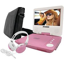 "Sylvania Sdvd7060-Combo-Pink 7"" Swivel-Screen Portable Dvd Playe"