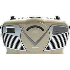 Sylvania Srcd212-Creme Retro-Style Portable Cd Radio Boom Box (Creme)